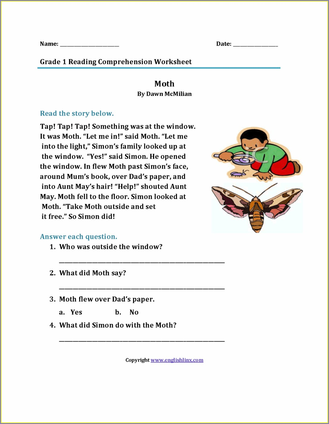 Printable Reading Comprehension Worksheets For 1st Grade