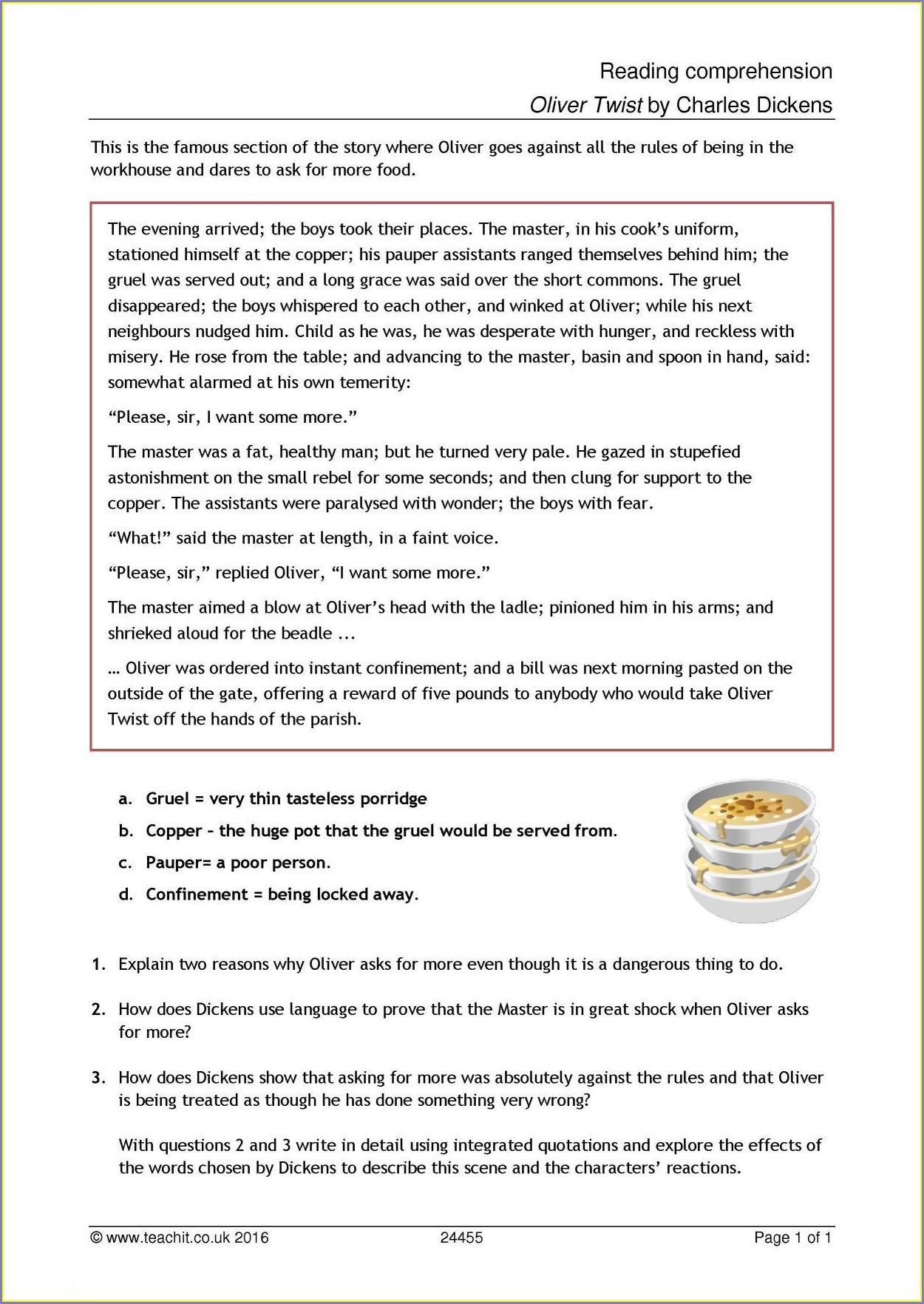 Printable Reading Comprehension Worksheets For Grade 7