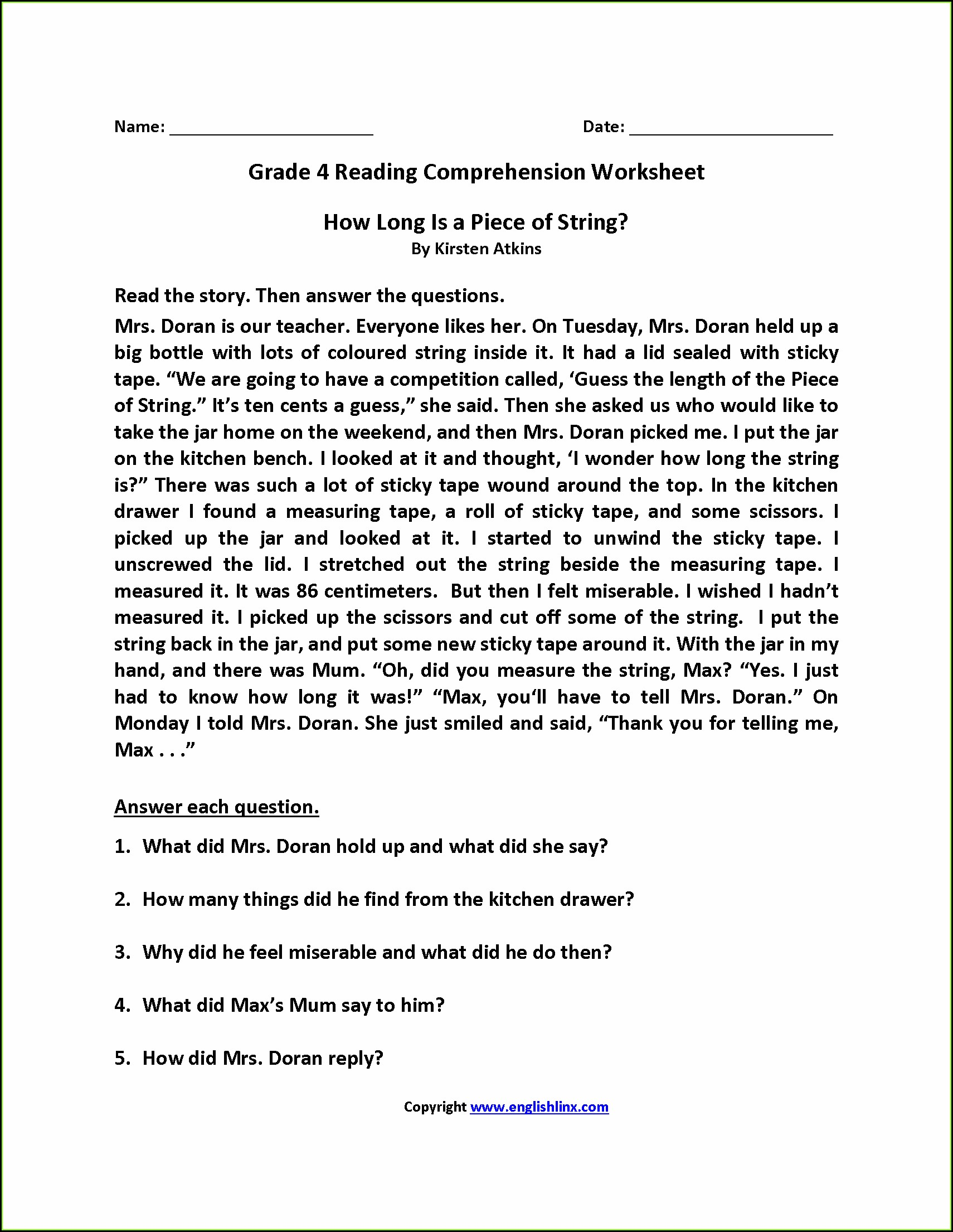 Printable Reading Comprehension Year 5