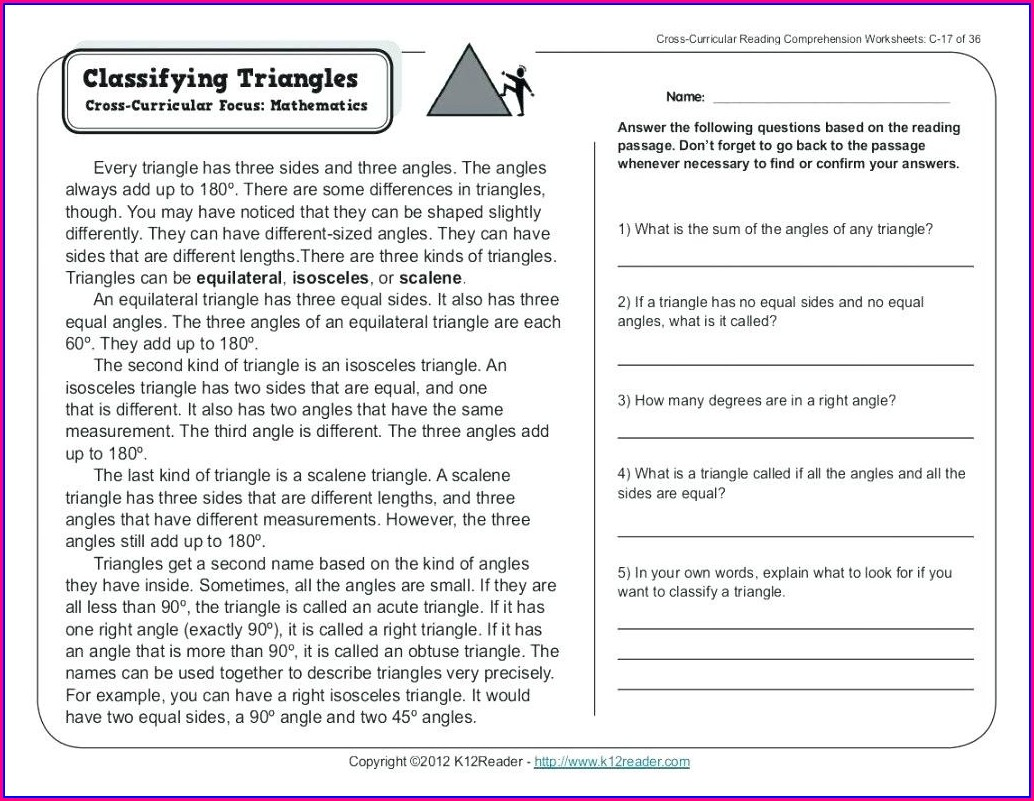 Printable Reading Worksheet For 5th Grade