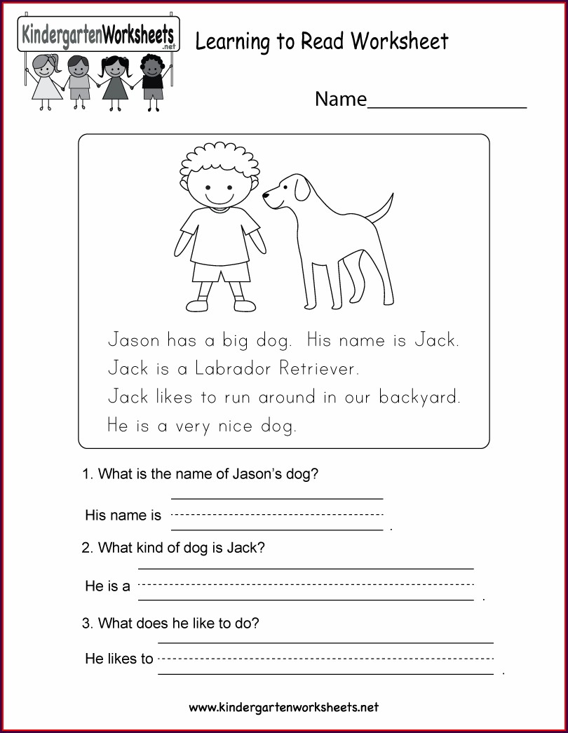 Printable Reading Worksheet For Kindergarten