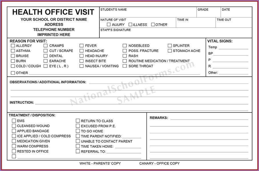 Printable School Nurse Forms