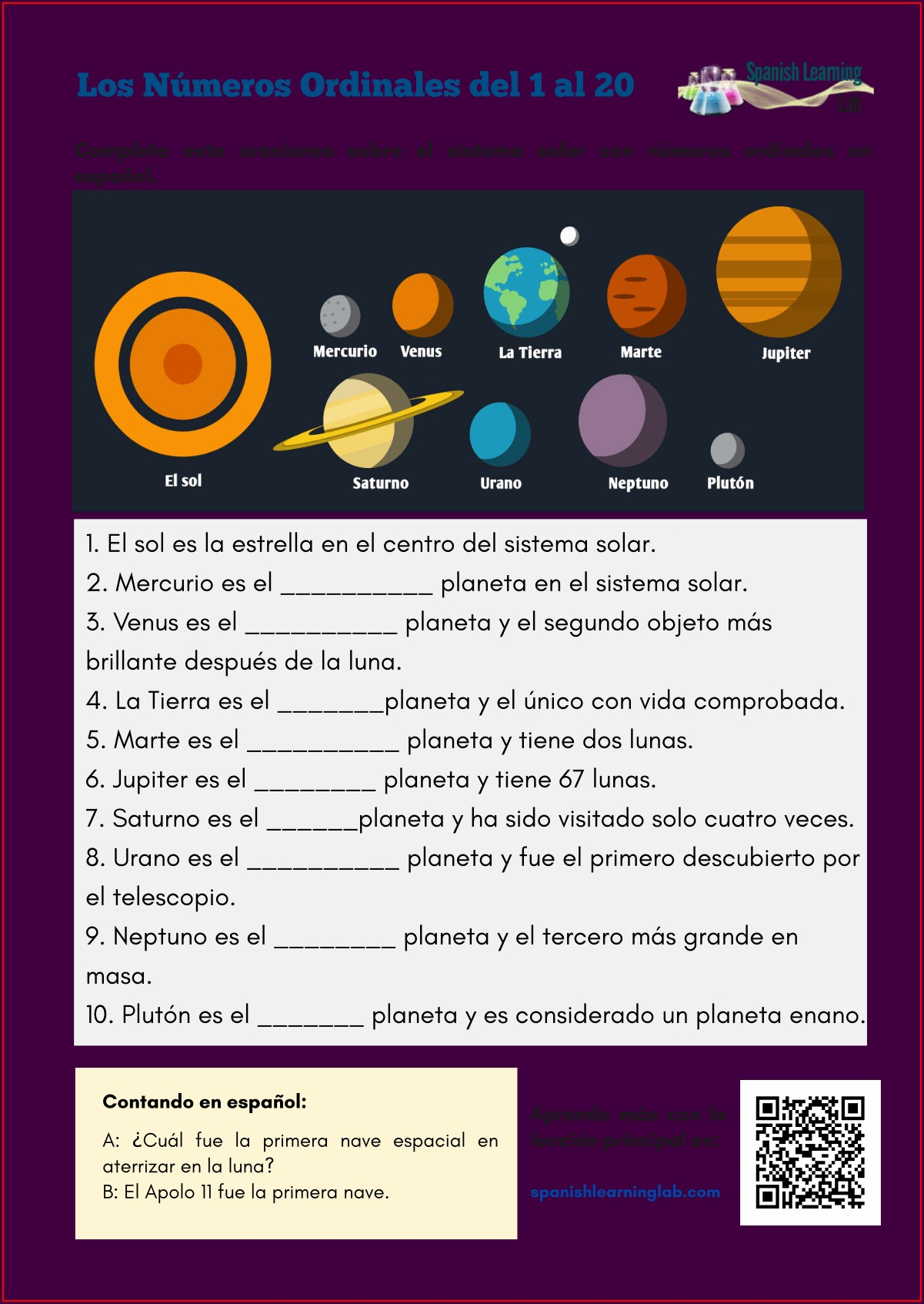 Printable Spanish Numbers Worksheet
