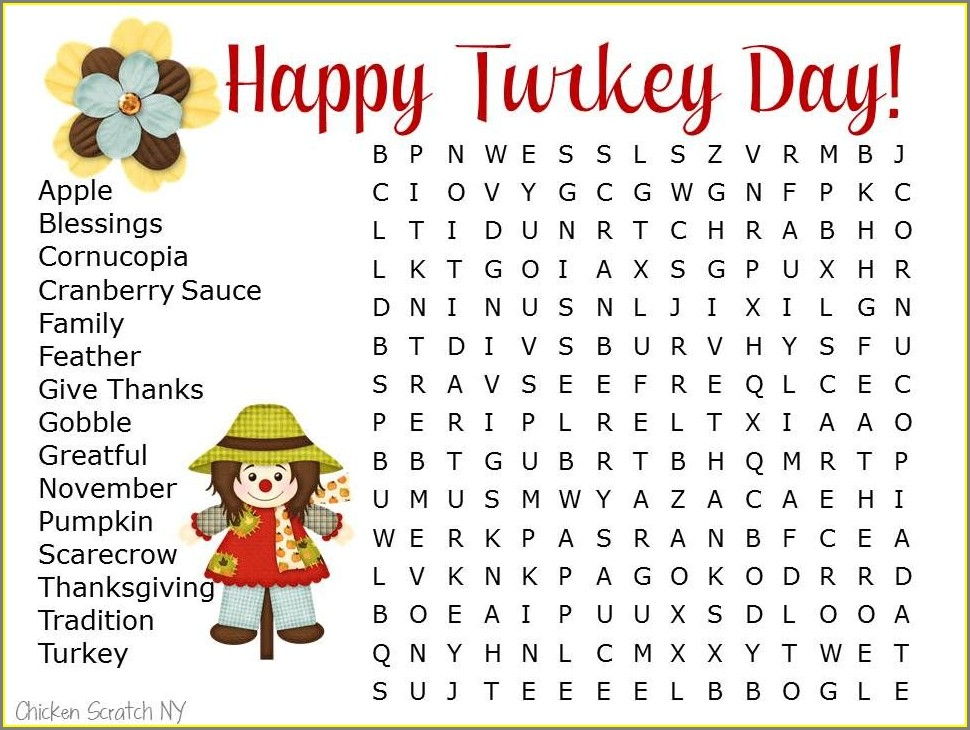 Printable Word Search On Thanksgiving
