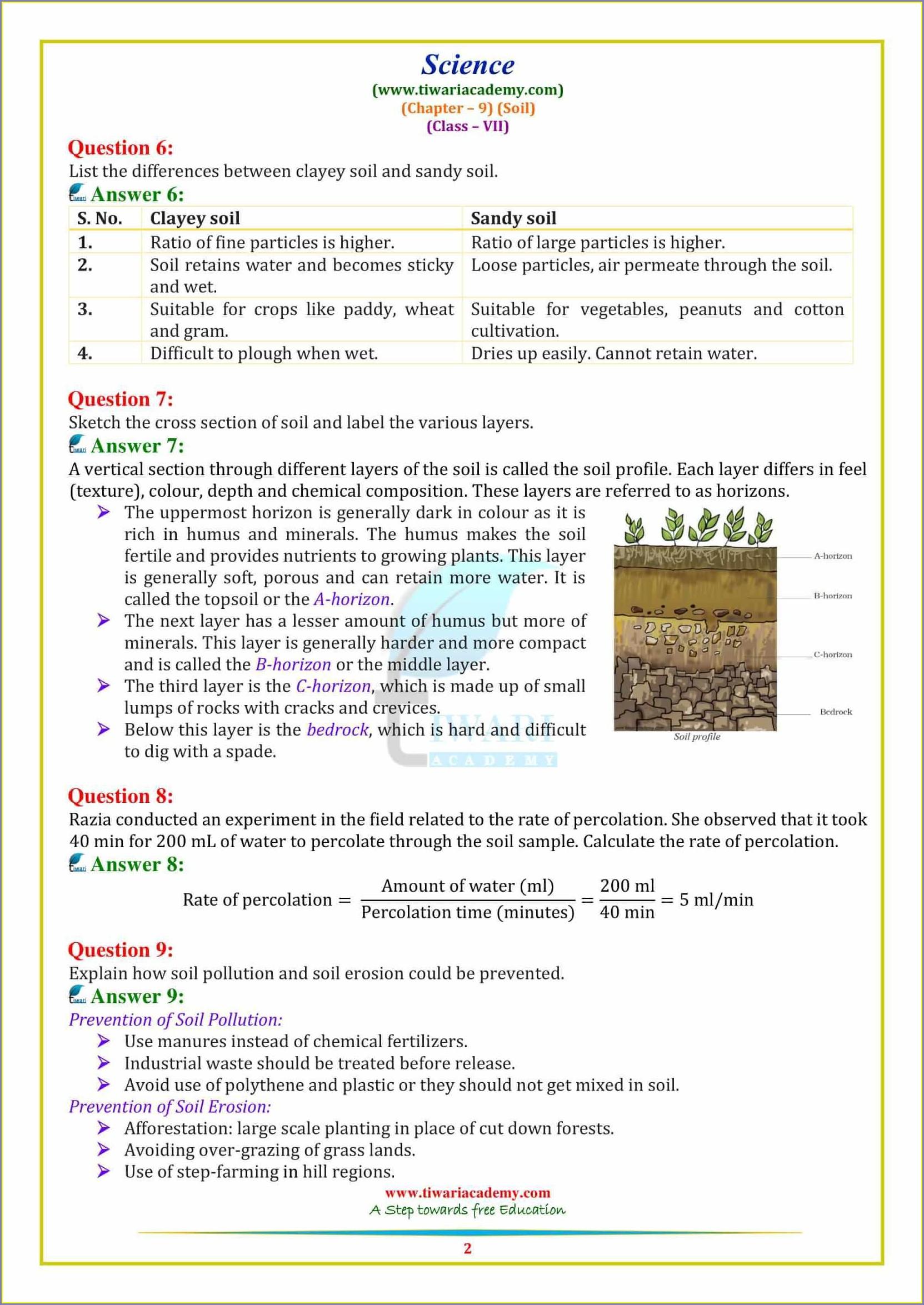 Printable Worksheet For Grade 7 Science