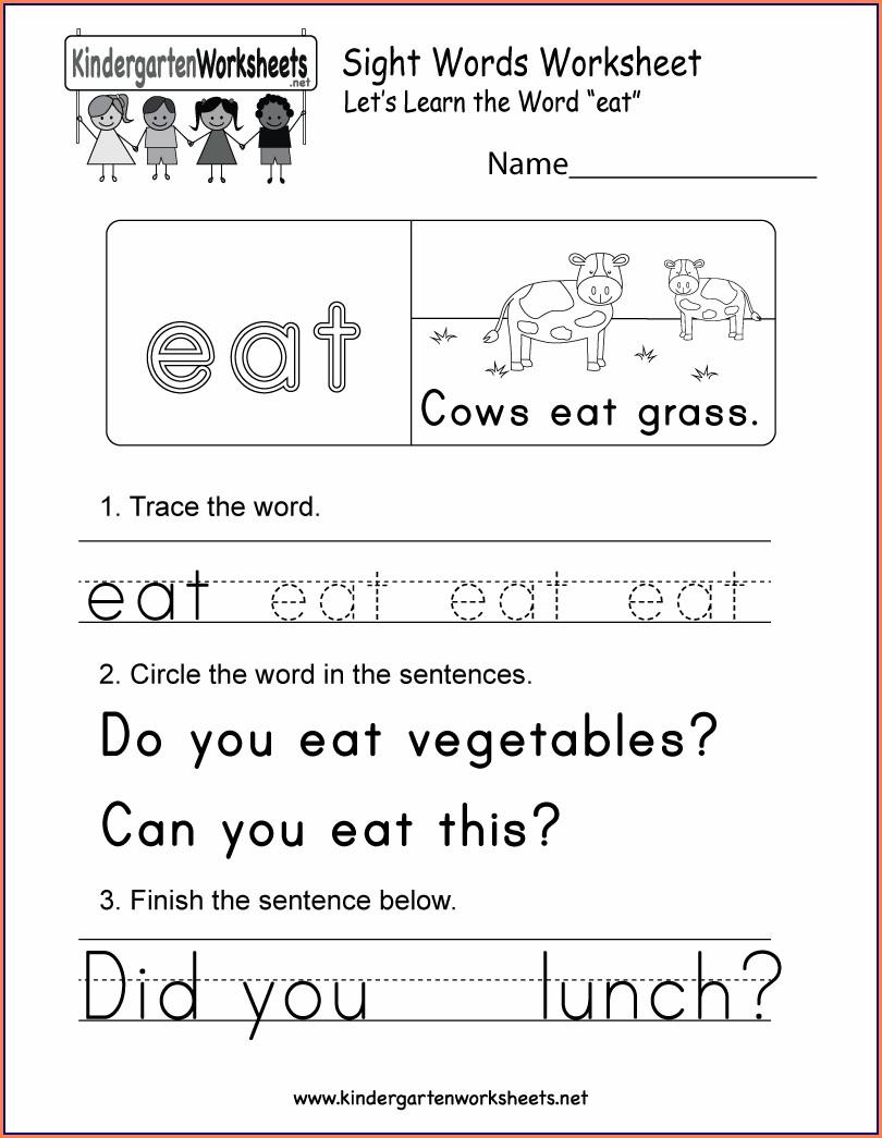 Printable Worksheet For Kindergarten Sight Word