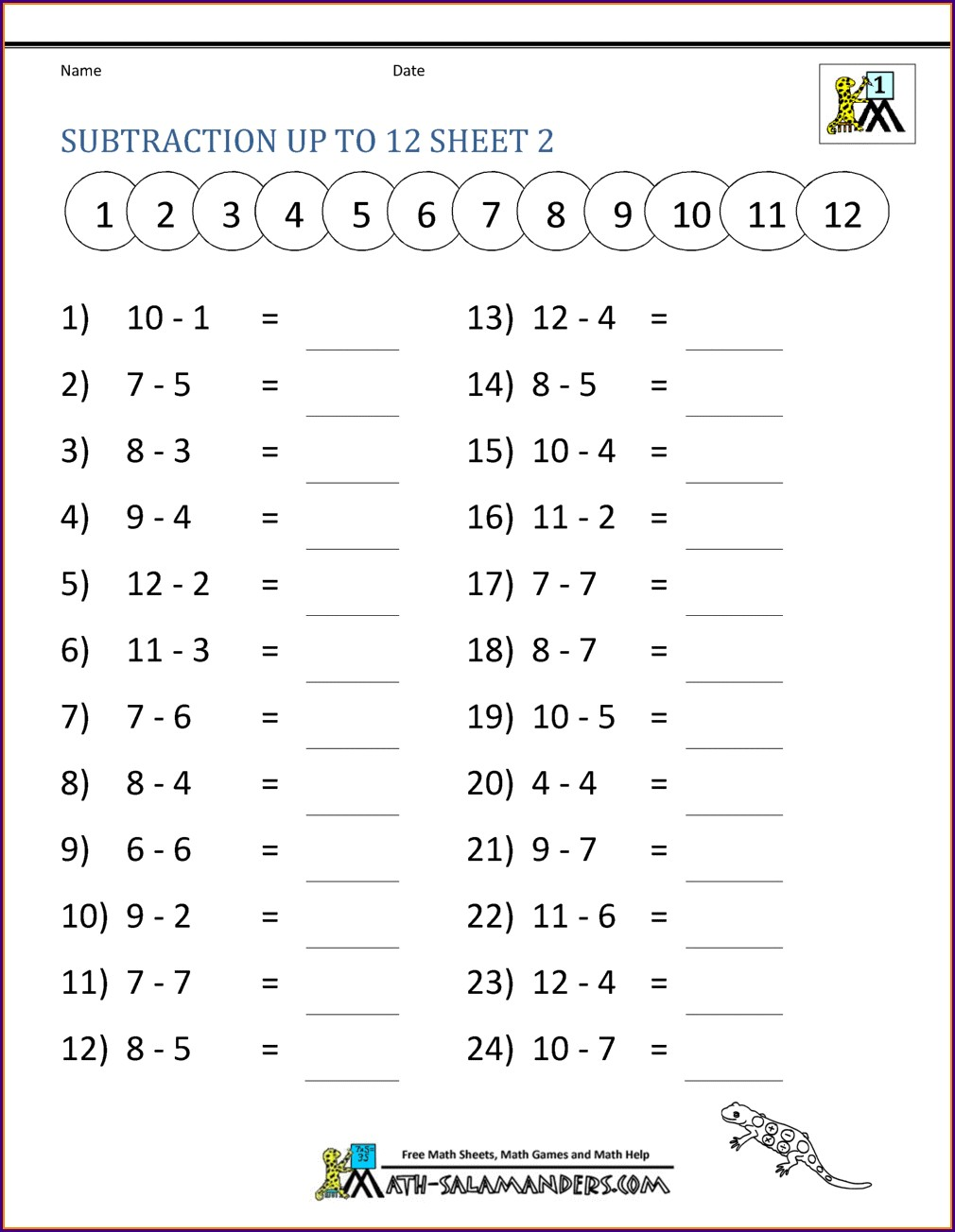 Printable Worksheets For 1st Grade Free