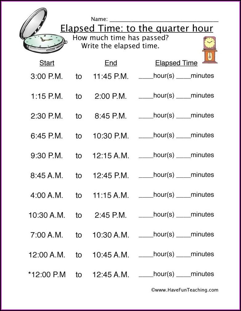 Problem Solving Elapsed Time Worksheets