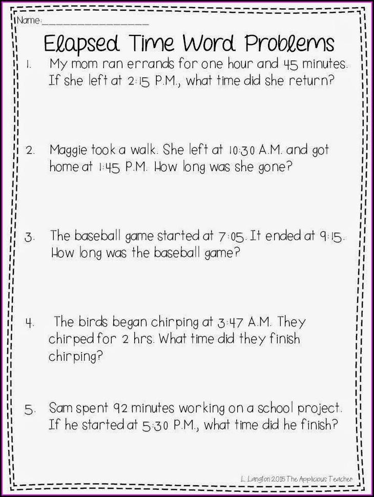 Problem Solving Time Worksheets Grade 3