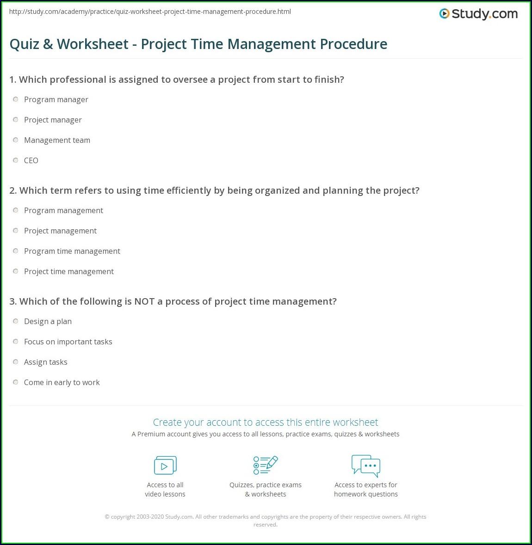 Project Time Management Worksheet