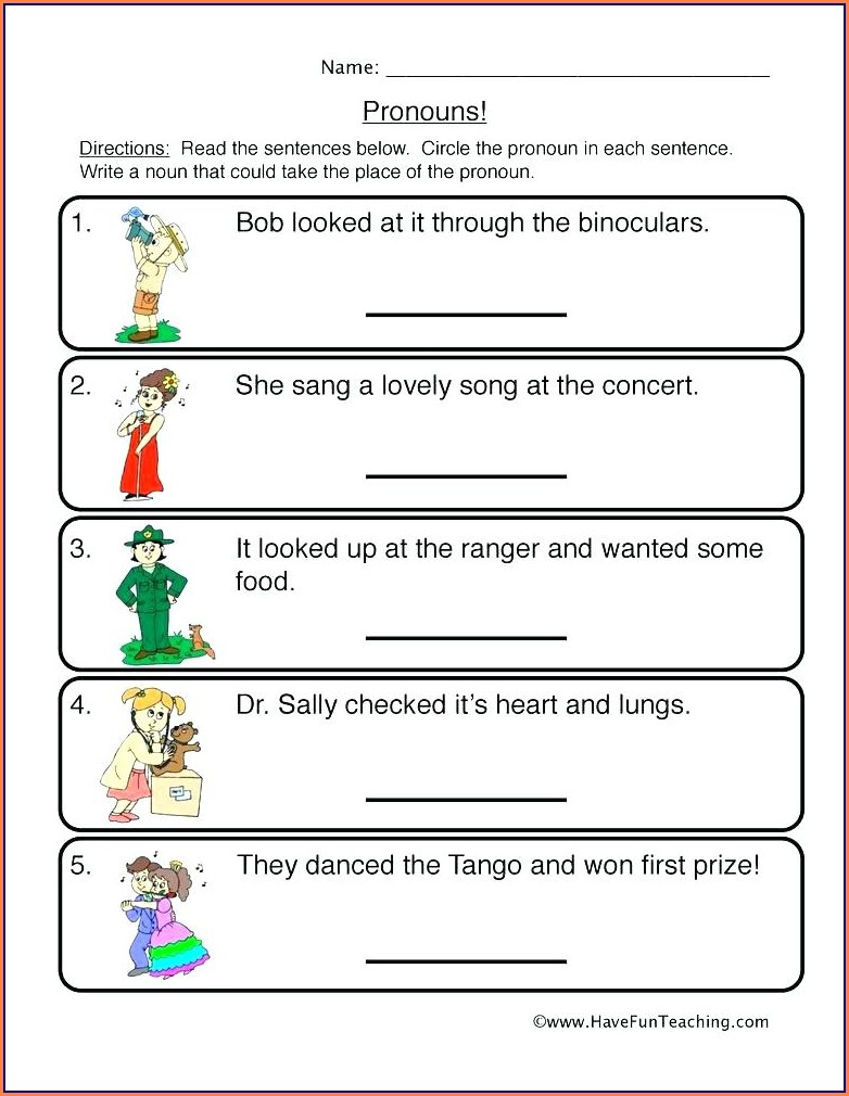 Pronouns Worksheets For First Grade
