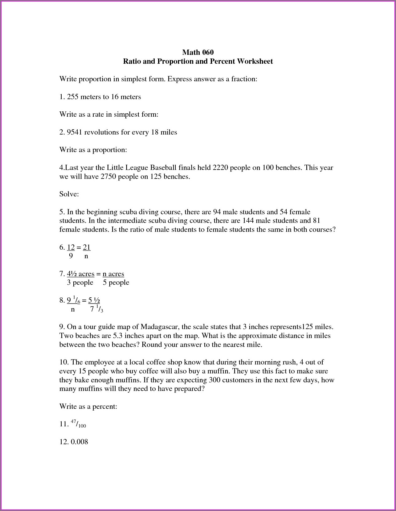 Proportion Math Problems Worksheets