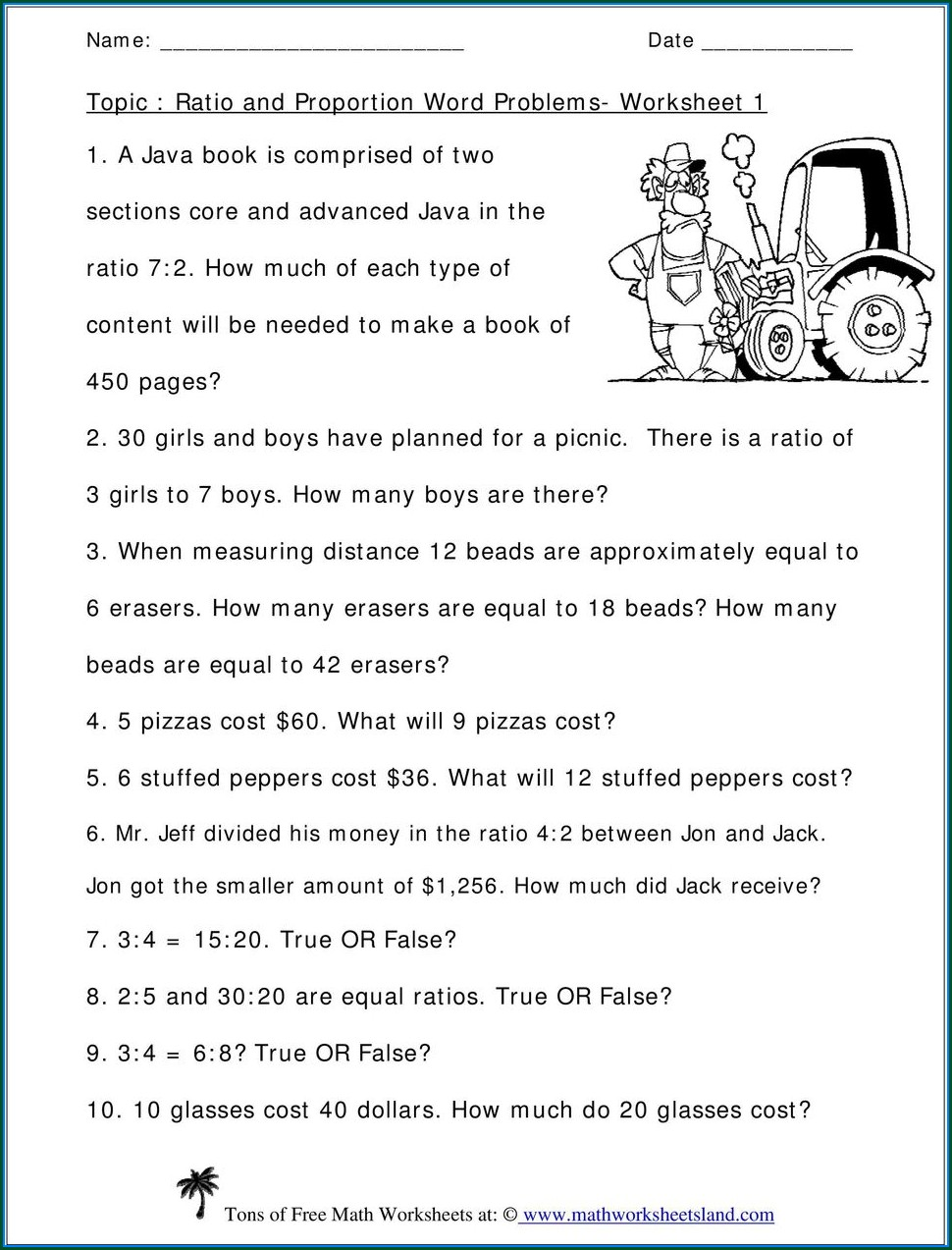 Proportion Word Problems Worksheet Doc