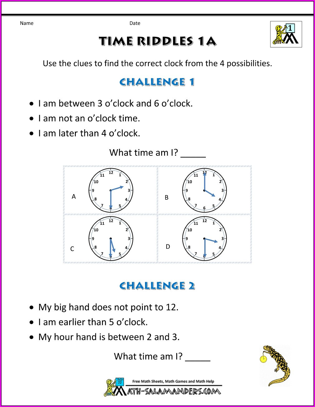 Puzzle Time Math Worksheet Math Challenge With Answer