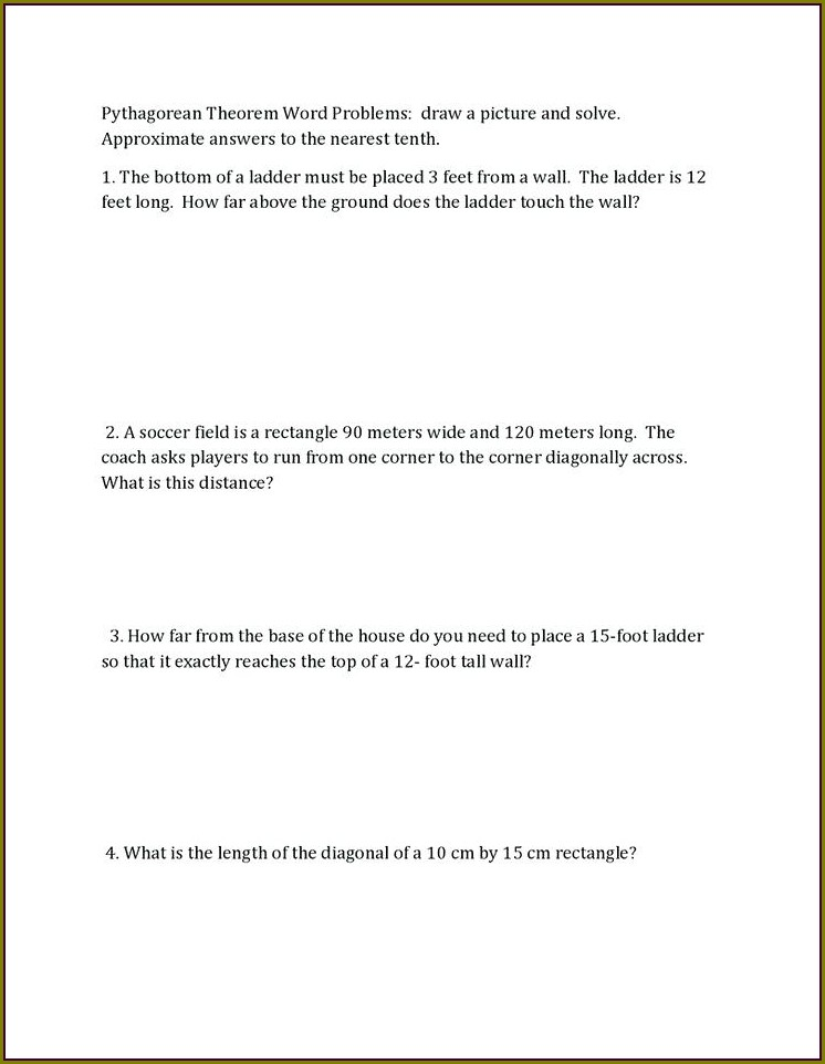 Pythagorean Theorem Word Problems Worksheet Answers