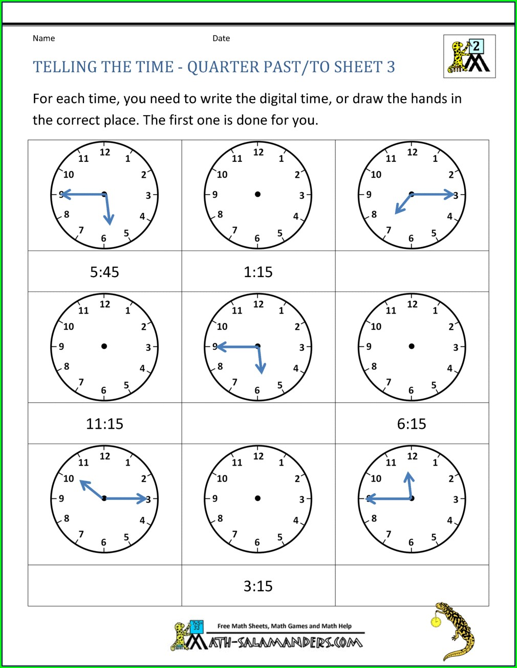 Quarter Telling Time Worksheets Grade 2 Pdf