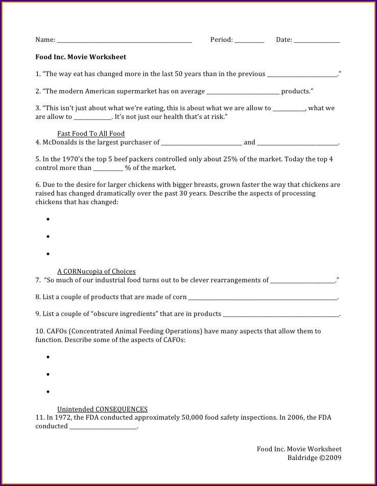 Questions Answer Key Food Inc Movie Worksheet Answers