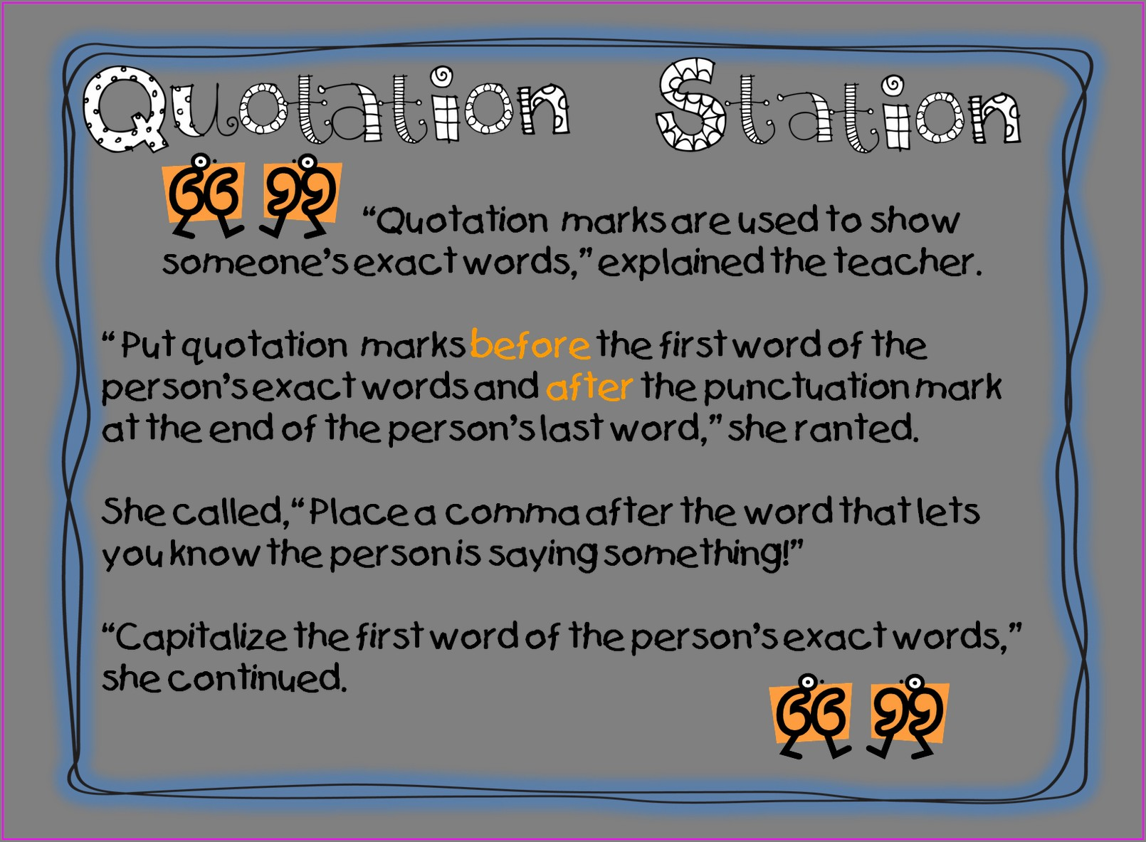 Quotation Marks First Grade Worksheet