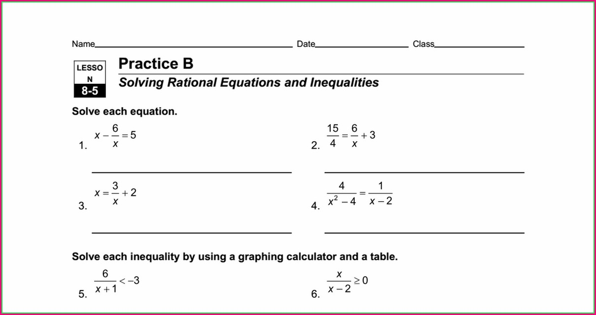 Rational Equations Word Problems Worksheet Doc
