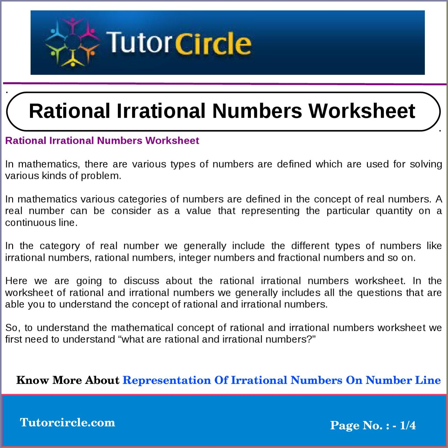 Rational Irrational Number Line Worksheet