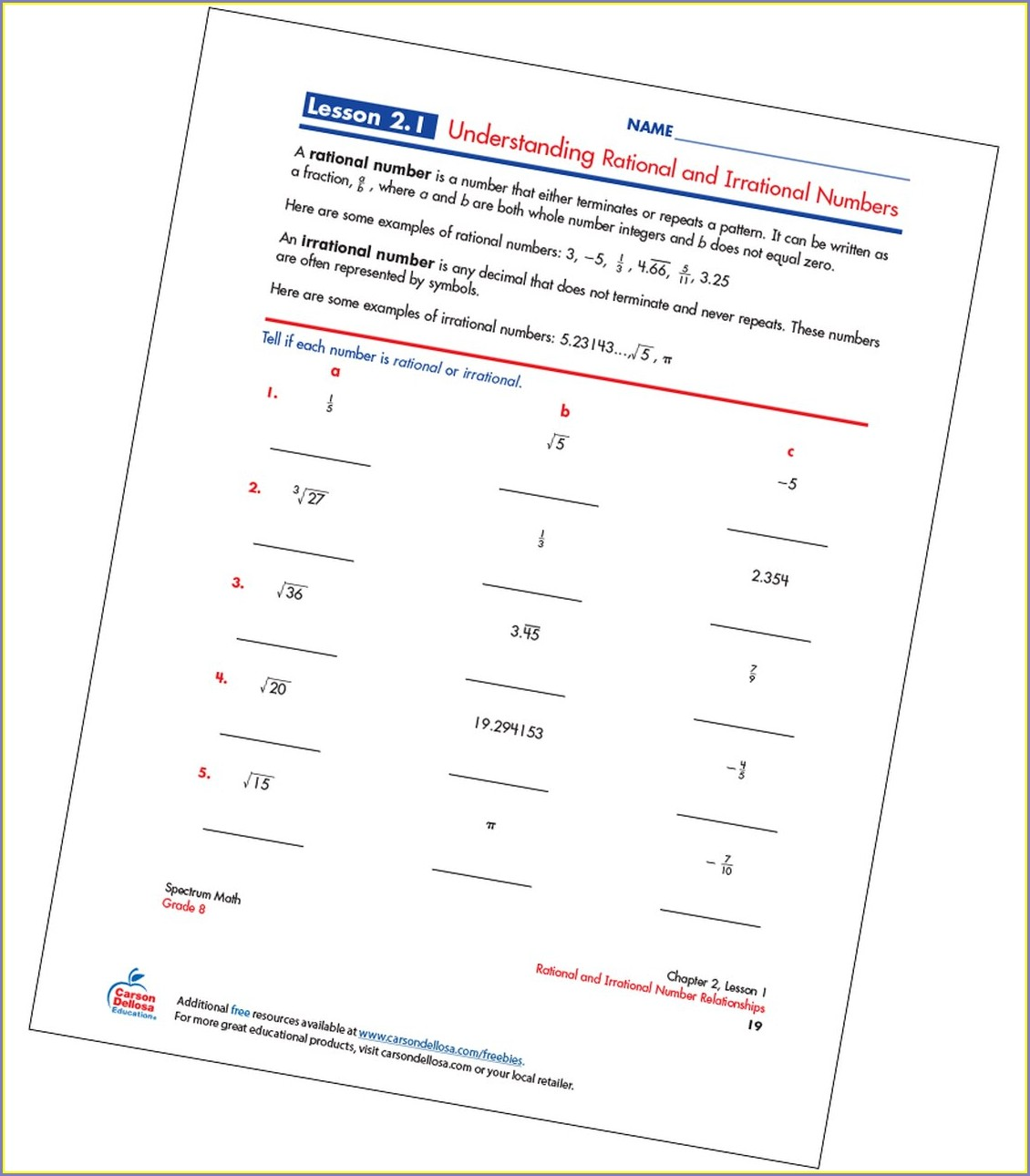 Rational Numbers Vs Irrational Numbers Worksheets