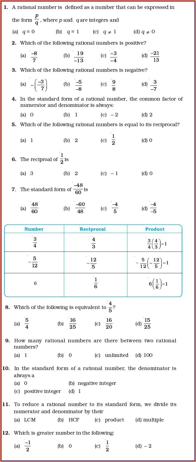 Rational Numbers Word Problems Worksheet Grade 7