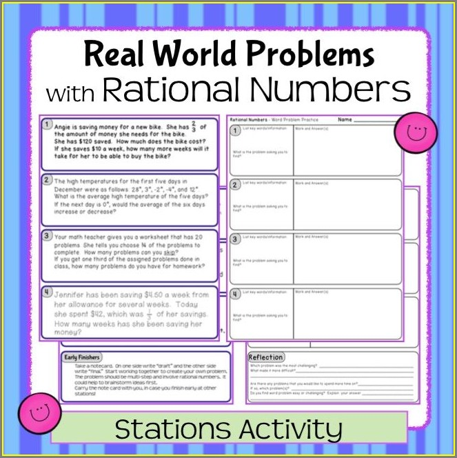 Rational Numbers Word Problems Worksheet Pdf