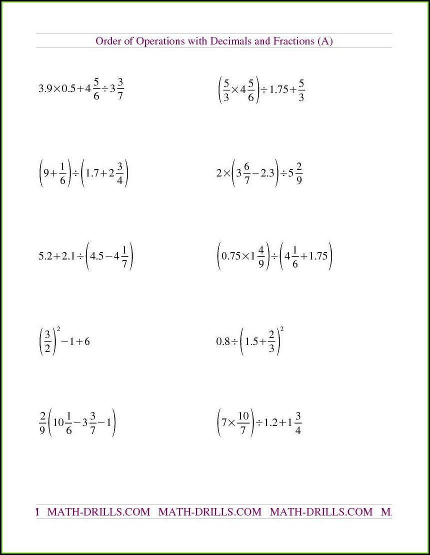 Rational Numbers Worksheet For Grade 6