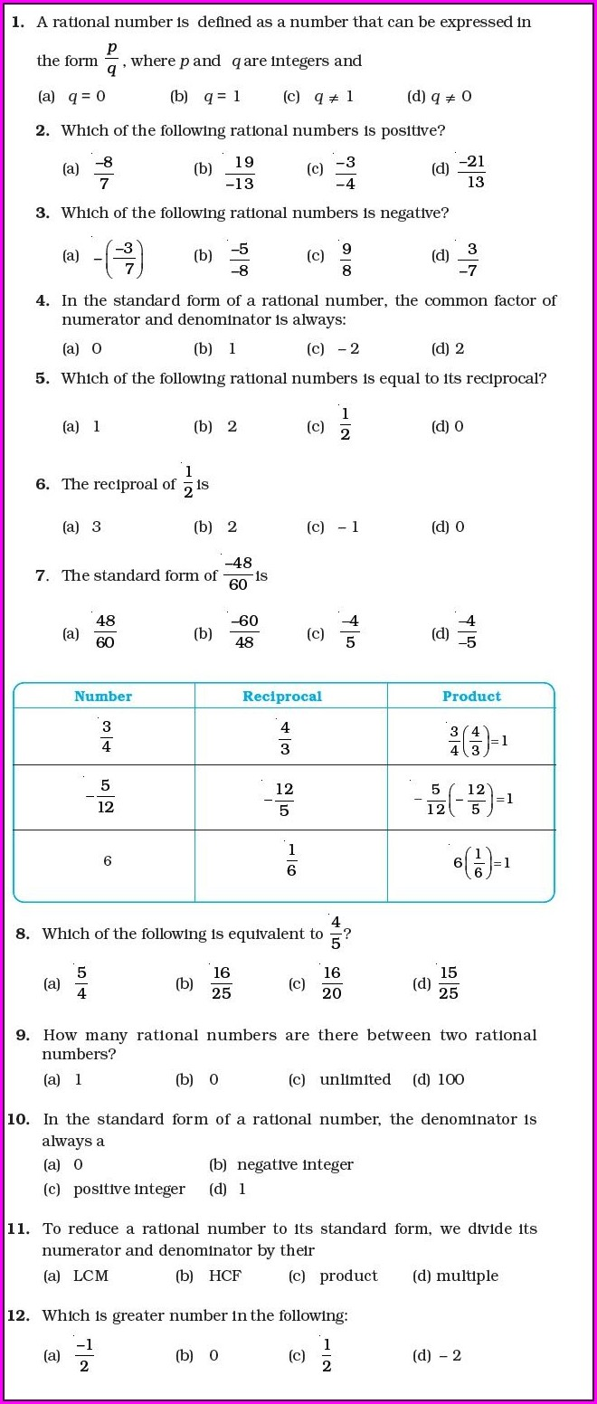 Rational Numbers Worksheet Grade 7 With Answers For 8th Standard