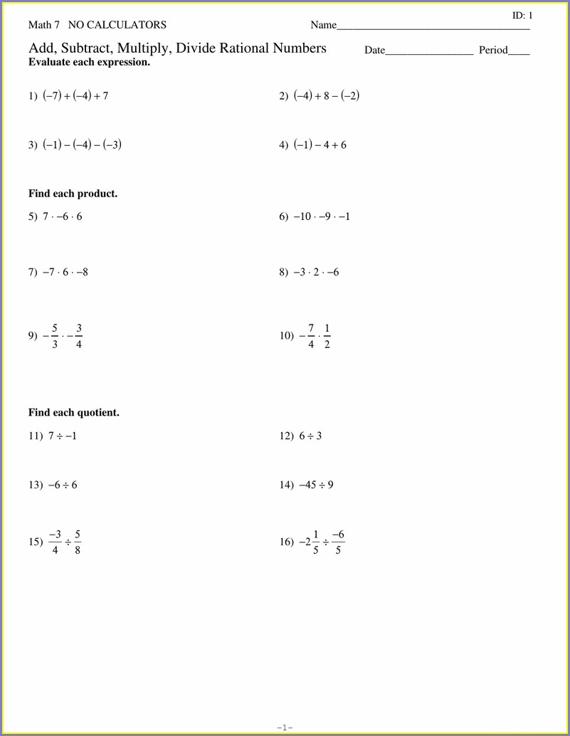 Rational Numbers Worksheet Kuta