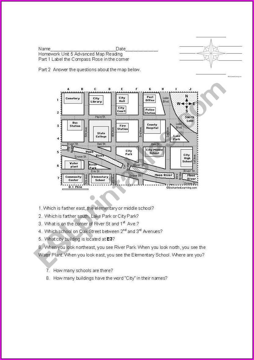 Reading A Map Worksheet Middle School