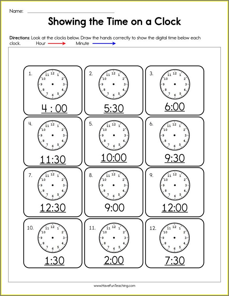 Reading A Time Card Worksheet