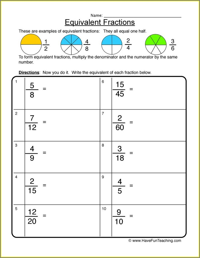 Reading And Writing Fractions Worksheet