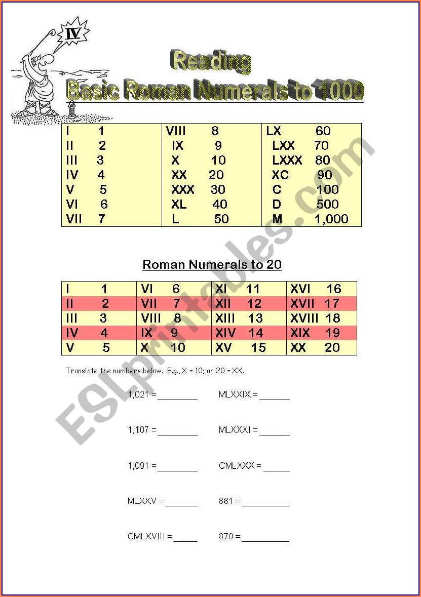 Reading And Writing Roman Numerals Worksheet