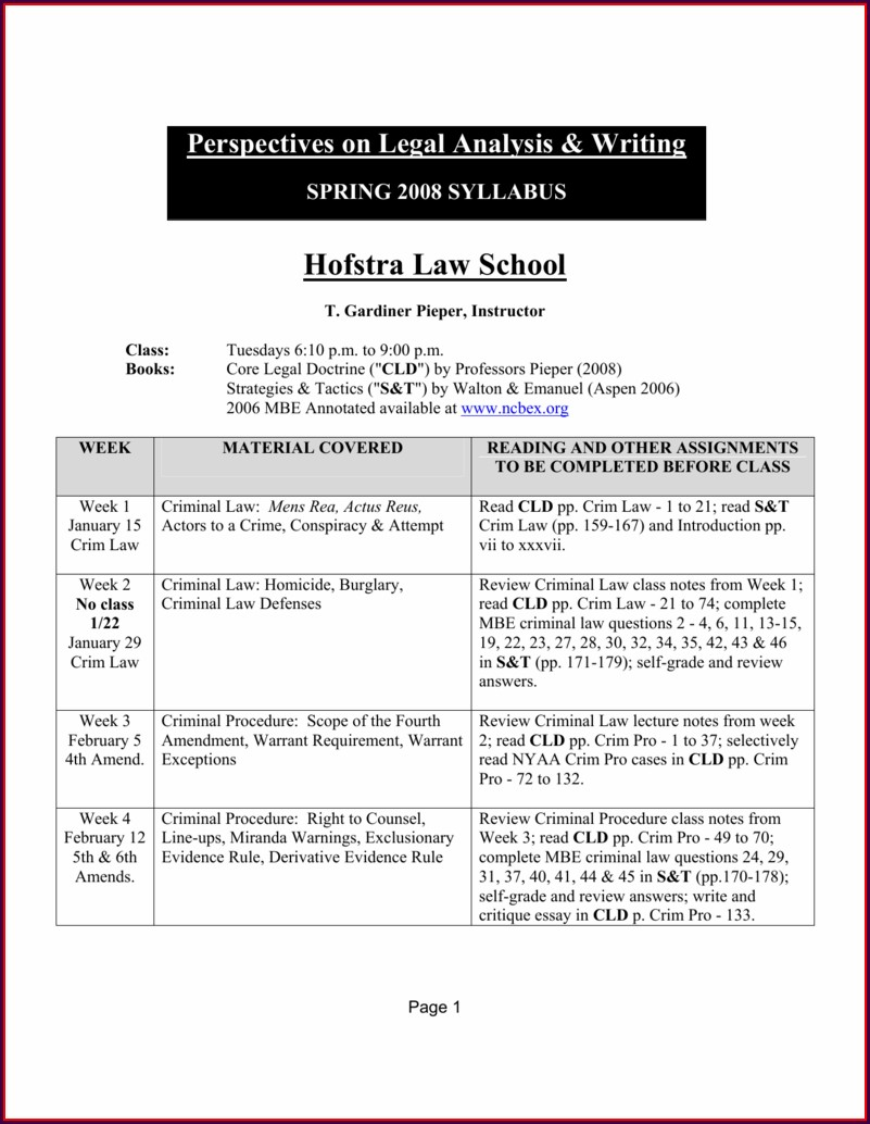 Reading Assignments Hofstra Law