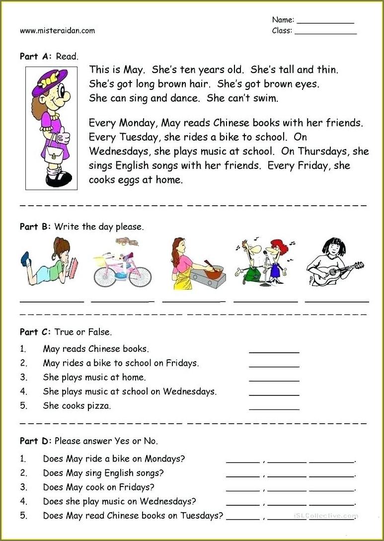 Reading Comprehension 2nd Grade English Worksheets Pdf