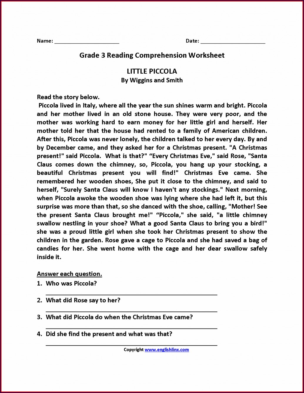 Reading Comprehension 3rd Grade Worksheet Free Printable