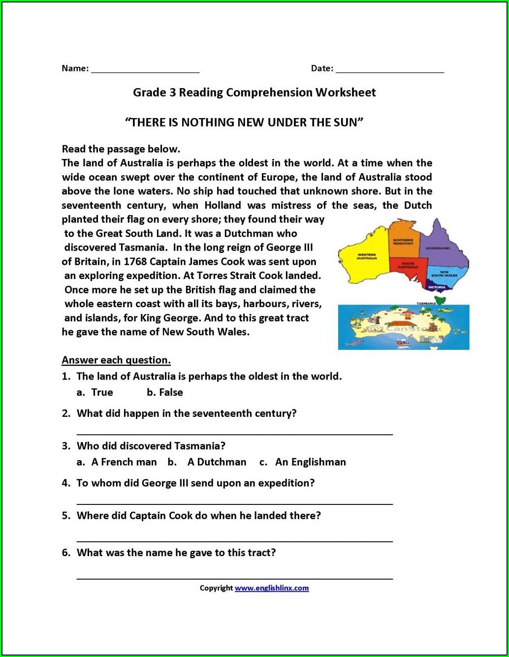 Reading Comprehension 3rd Grade Worksheets Pdf