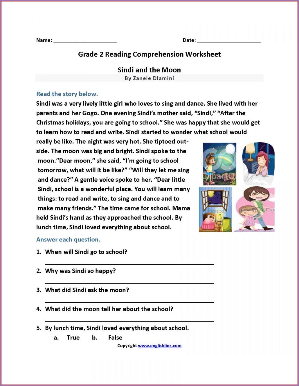 Reading Comprehension English Worksheet For Grade 2