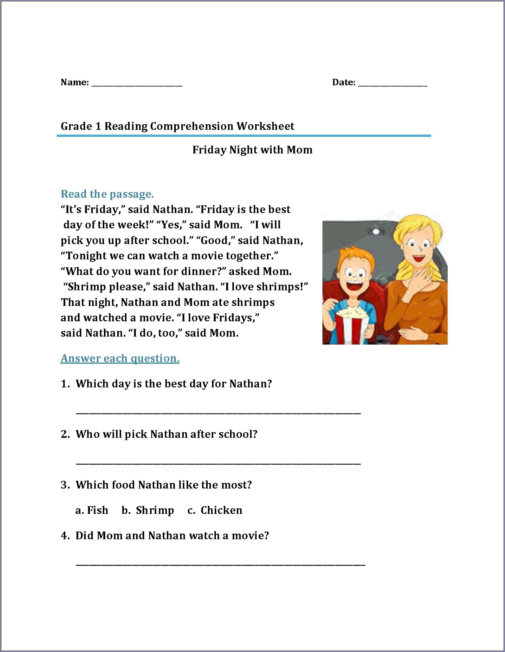 Reading Comprehension Exercises With Answers For Grade 1