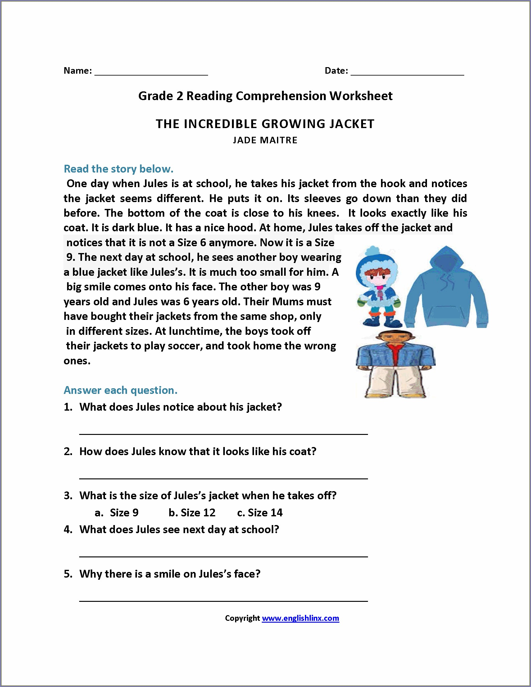 Reading Comprehension Exercises With Answers For Grade 2