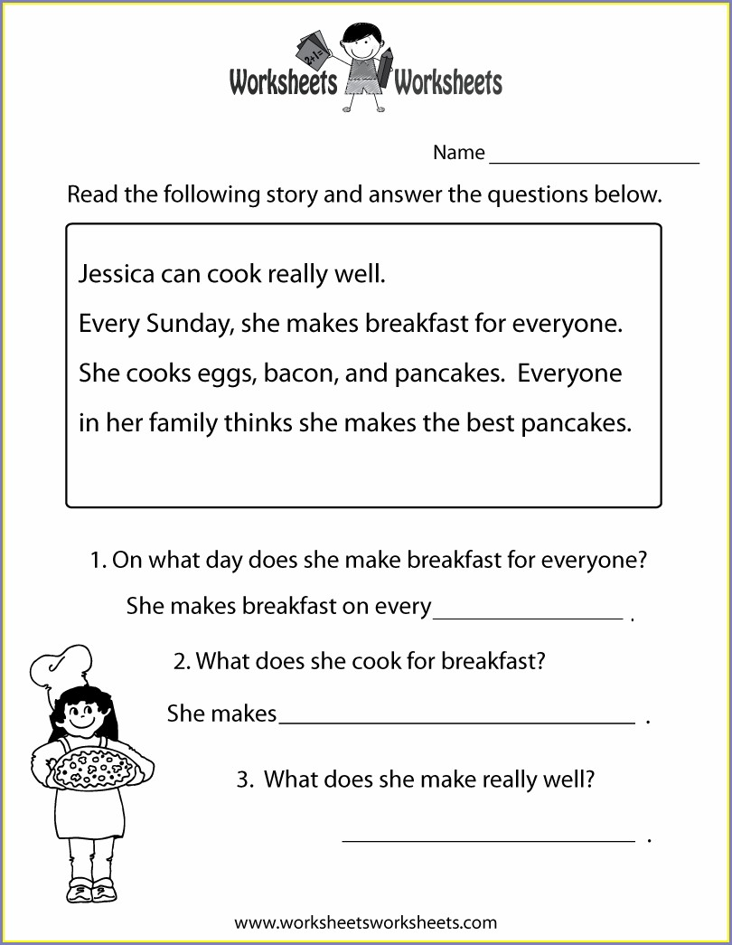 Reading Comprehension First Grade Reading Comprehension Free Printable Worksheets For Grade 1