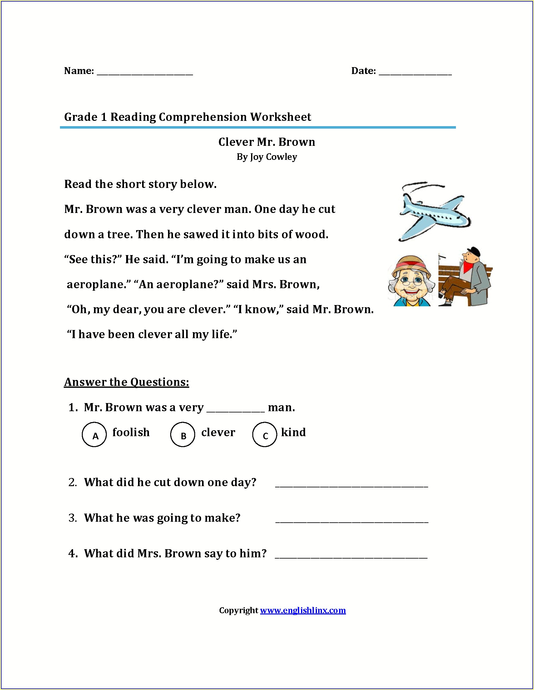 Reading Comprehension First Grade Writing Worksheets Free Printable