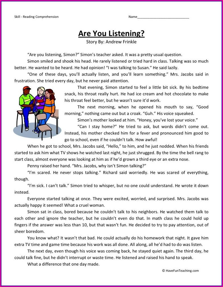Reading Comprehension Free 3rd Grade Printable Worksheets