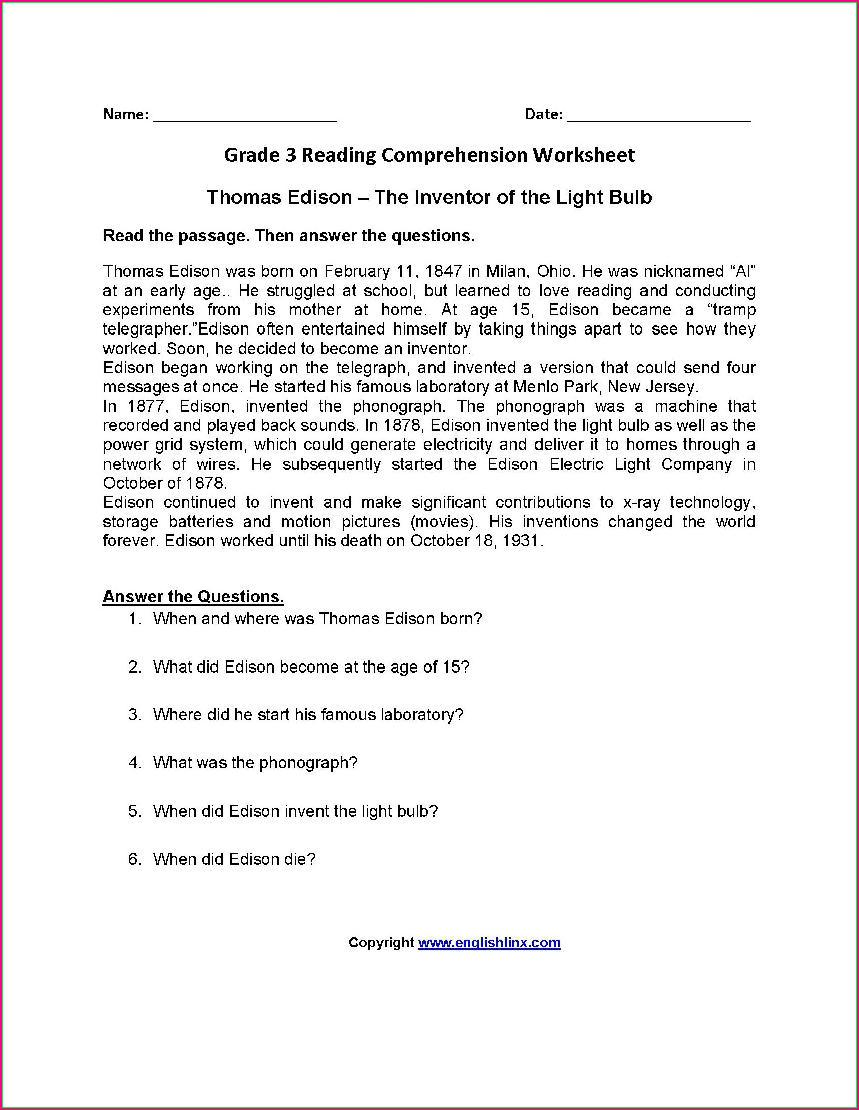 Reading Comprehension Free Worksheets For 4th Grade