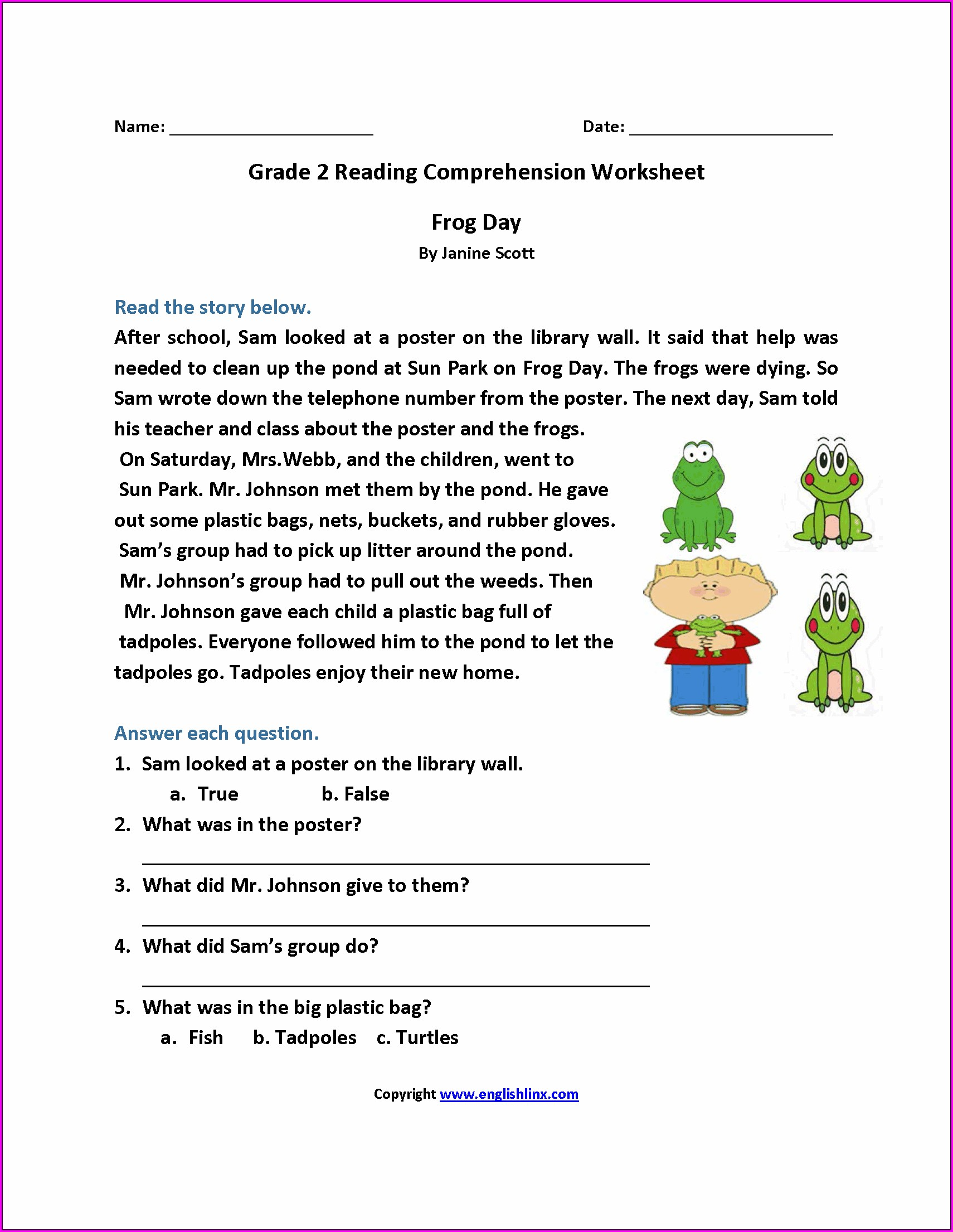 Reading Comprehension Grade 1 Worksheets Printable Free