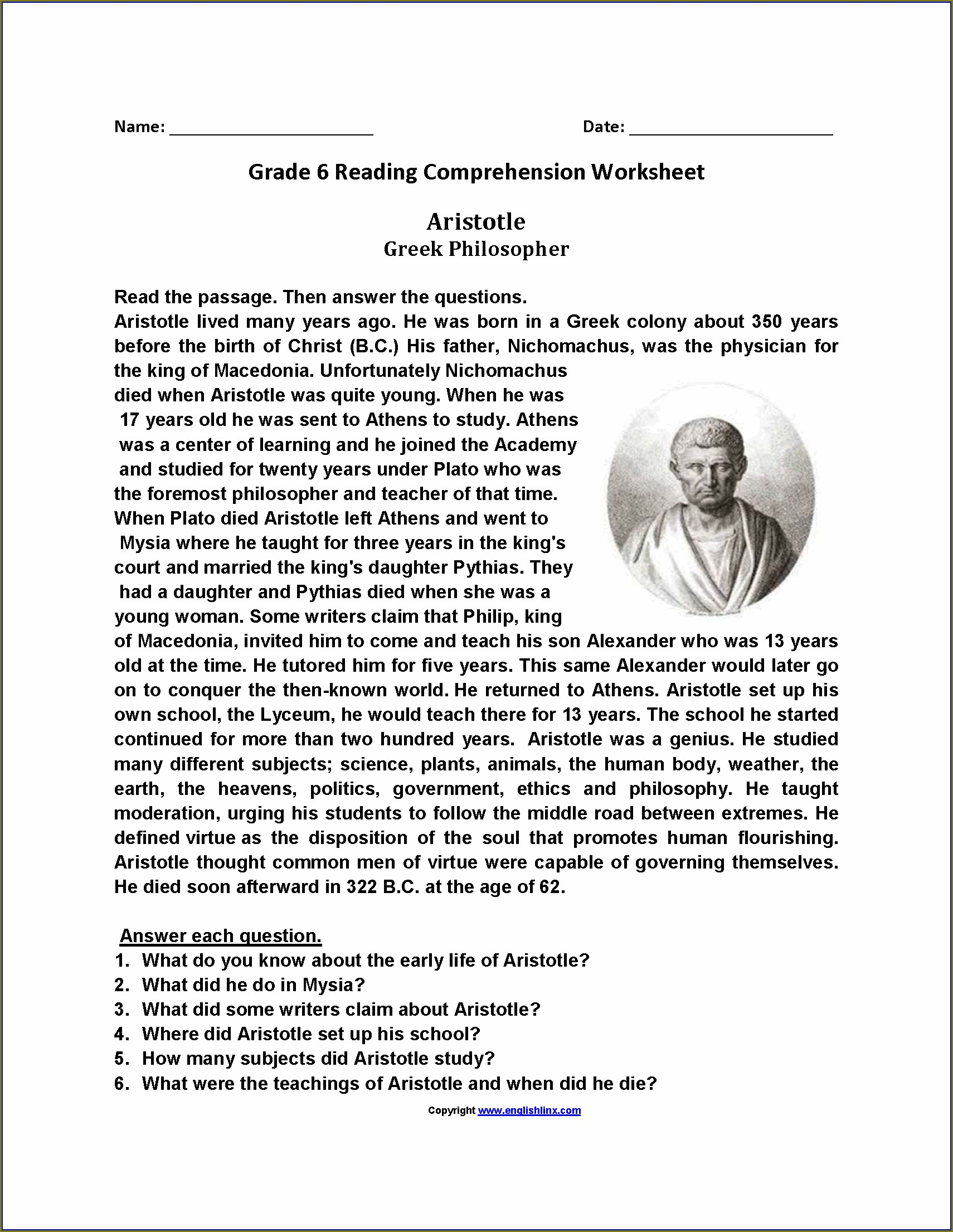 Reading Comprehension Math Free Printable Worksheets For 6th Grade