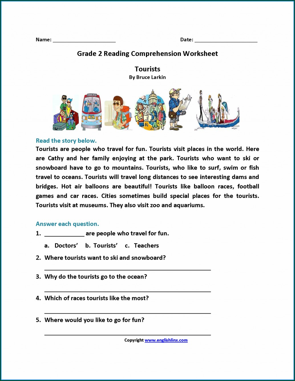 Reading Comprehension Printable Reading Comprehension Second Grade Worksheets