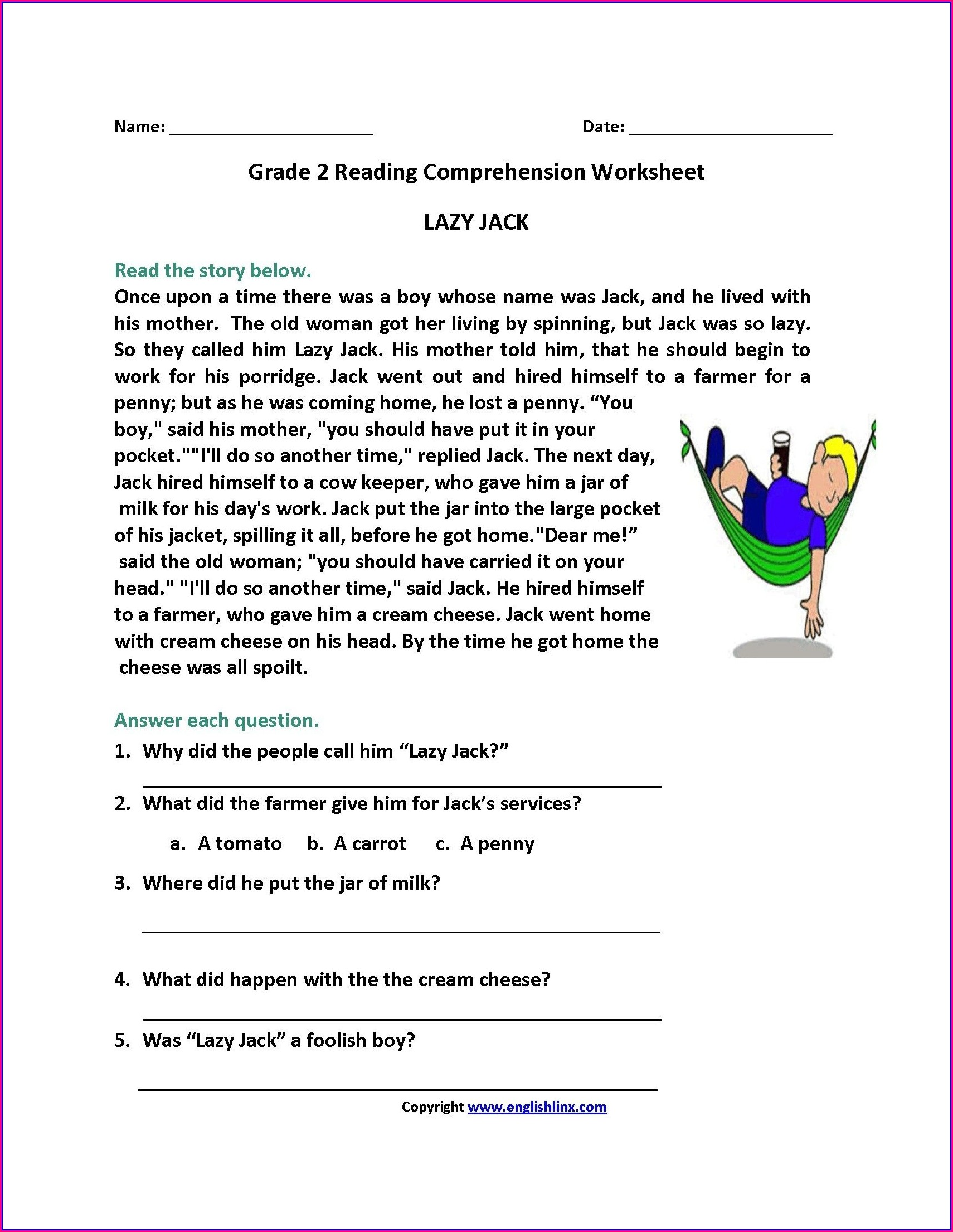 Reading Comprehension Printable Reading Comprehension Worksheets For 2nd Graders