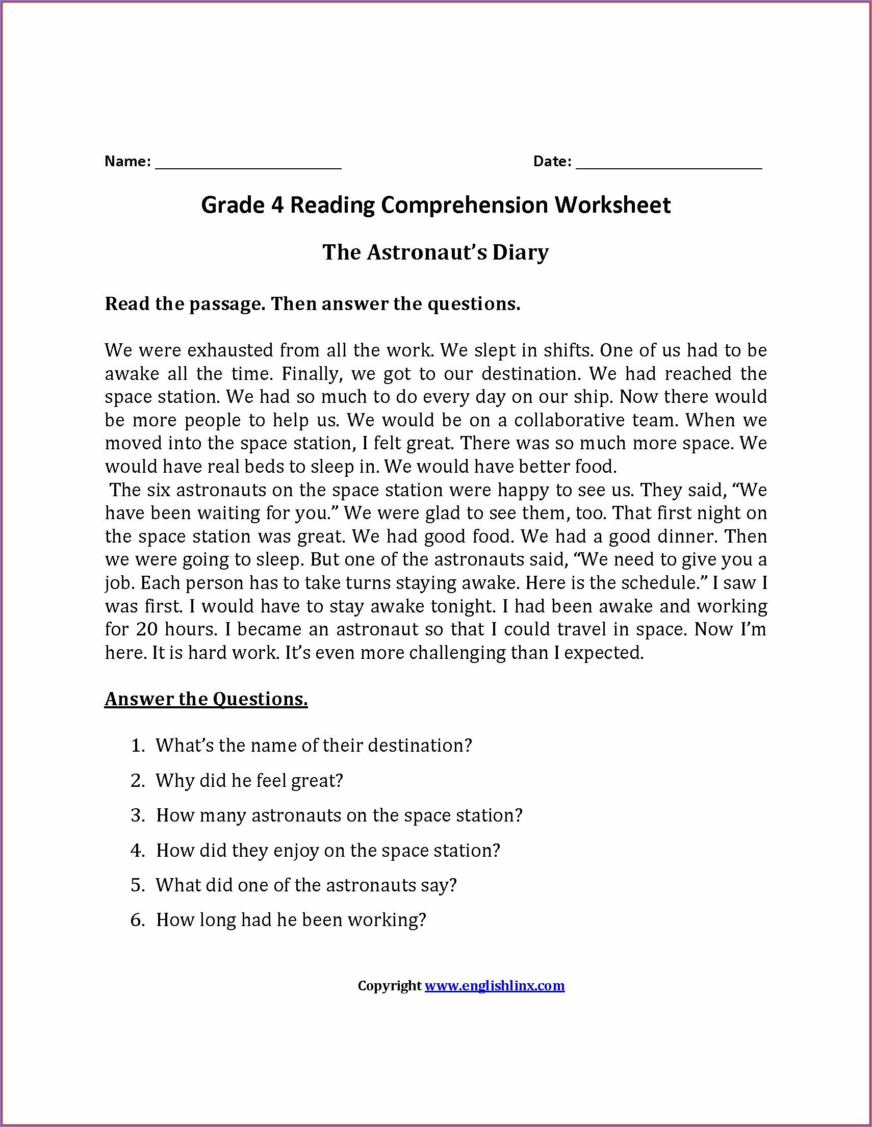 Reading Comprehension Printable Worksheet For Grade 2